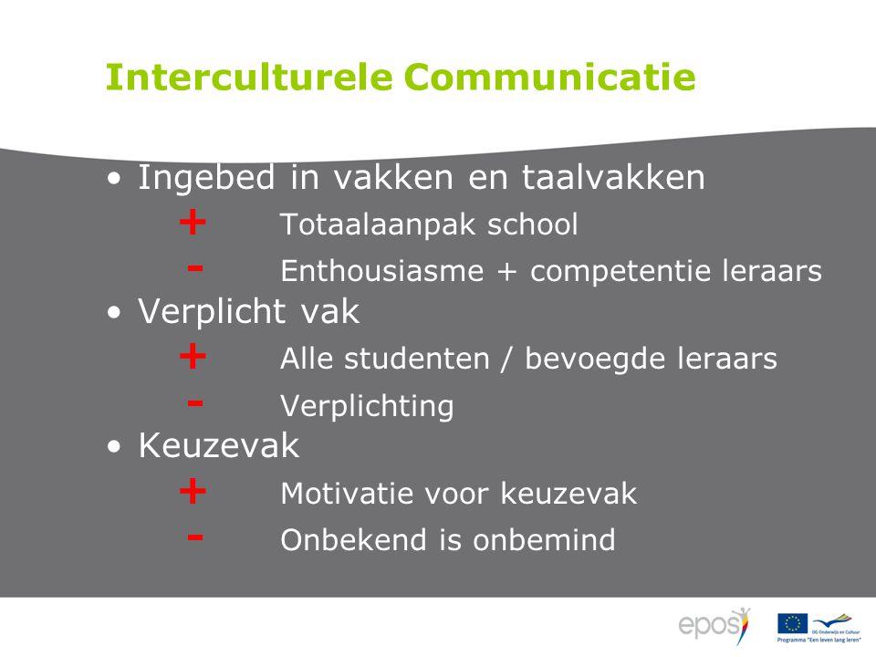 Interculturele Communicatie Ingebed in vakken en taalvakken + Totaalaanpak school - Enthousiasme + competentie leraars Verplicht vak + Alle studenten / bevoegde leraars - Verplichting Keuzevak + Motivatie voor keuzevak - Onbekend is onbemind