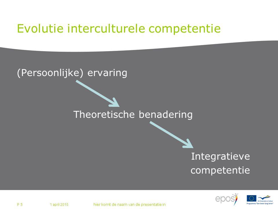 Evolutie interculturele competentie (Persoonlijke) ervaring Theoretische benadering Integratieve competentie 1 april 2015 hier komt de naam van de presentatie in P 5