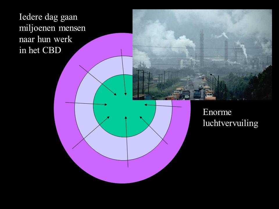 Iedere dag gaan miljoenen mensen naar hun werk in het CBD Enorme luchtvervuiling