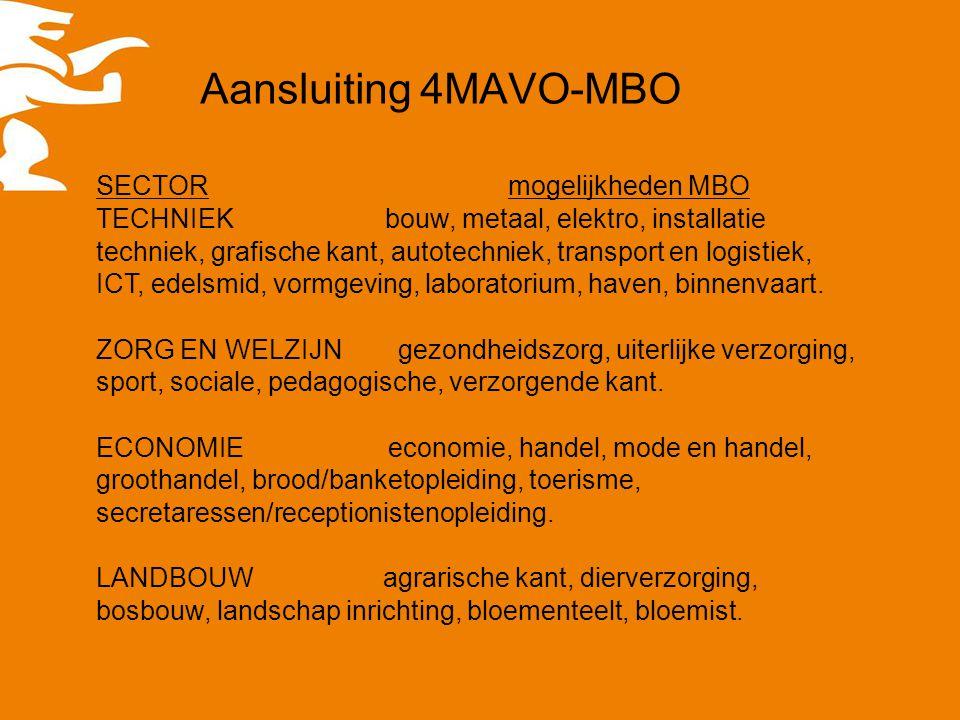 Aansluiting 4MAVO-MBO SECTOR mogelijkheden MBO TECHNIEK bouw, metaal, elektro, installatie techniek, grafische kant, autotechniek, transport en logist