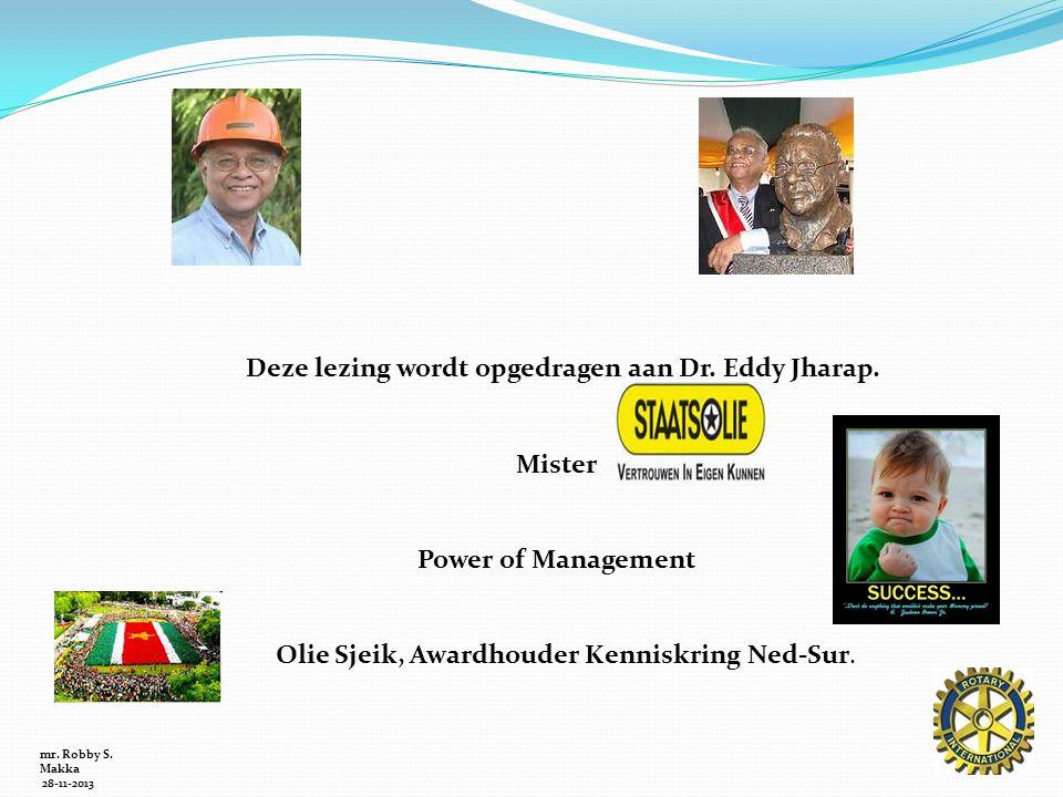 mr. Robby S. Makka 28-11-2013 Deze lezing wordt opgedragen aan Dr. Eddy Jharap. Mister Power of Management Olie Sjeik, Awardhouder Kenniskring Ned-Sur