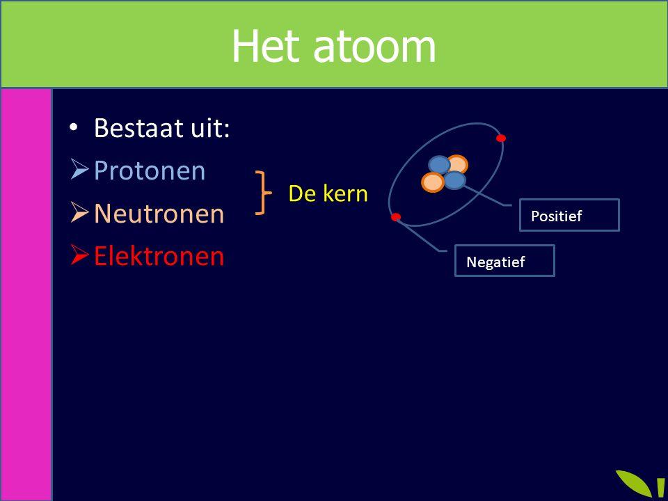 Metriek Het atoom Proton: Positief geladen kerndeeltje Neutron: Neutraal deeltje Elektron: Negatief geladen deeltje De neutron zorgt er voor dat de kern bij elkaar blijft.