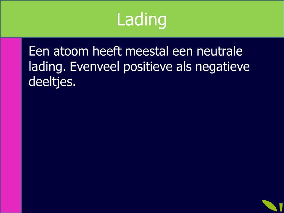Lading Een atoom heeft meestal een neutrale lading. Evenveel positieve als negatieve deeltjes.