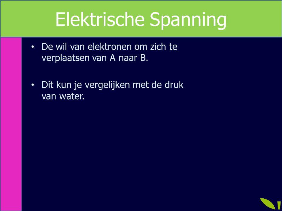 De wil van elektronen om zich te verplaatsen van A naar B. Dit kun je vergelijken met de druk van water. Elektrische Spanning