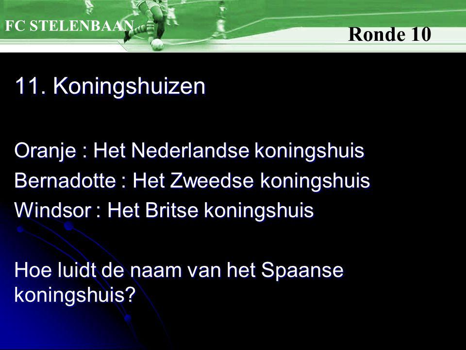11. Koningshuizen Oranje : Het Nederlandse koningshuis Bernadotte : Het Zweedse koningshuis Windsor : Het Britse koningshuis Hoe luidt de naam van het