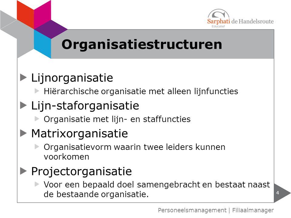 Lijnorganisatie Hiërarchische organisatie met alleen lijnfuncties Lijn-staforganisatie Organisatie met lijn- en staffuncties Matrixorganisatie Organis