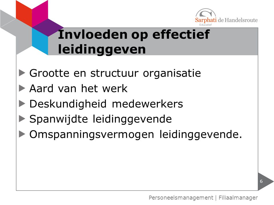 Grootte en structuur organisatie Aard van het werk Deskundigheid medewerkers Spanwijdte leidinggevende Omspanningsvermogen leidinggevende. 6 Invloeden