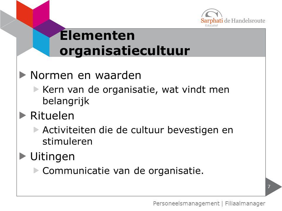 Normen en waarden Kern van de organisatie, wat vindt men belangrijk Rituelen Activiteiten die de cultuur bevestigen en stimuleren Uitingen Communicati