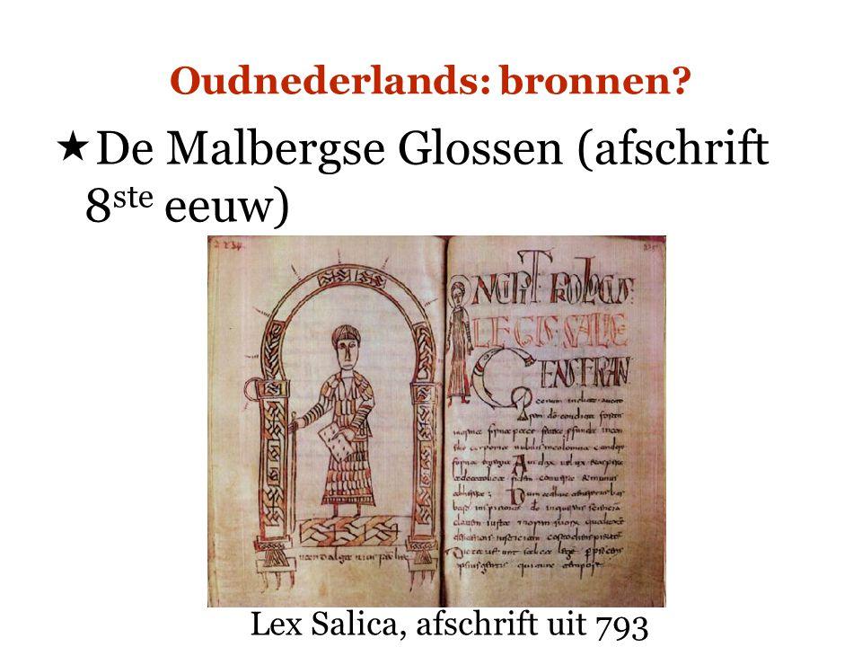 Oudnederlands: bronnen?  De Malbergse Glossen (afschrift 8 ste eeuw) Lex Salica, afschrift uit 793