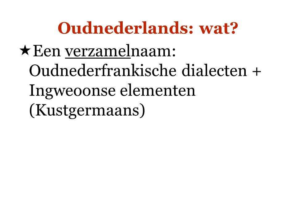 Oudnederlands: wat?  Een verzamelnaam: Oudnederfrankische dialecten + Ingweoonse elementen (Kustgermaans)