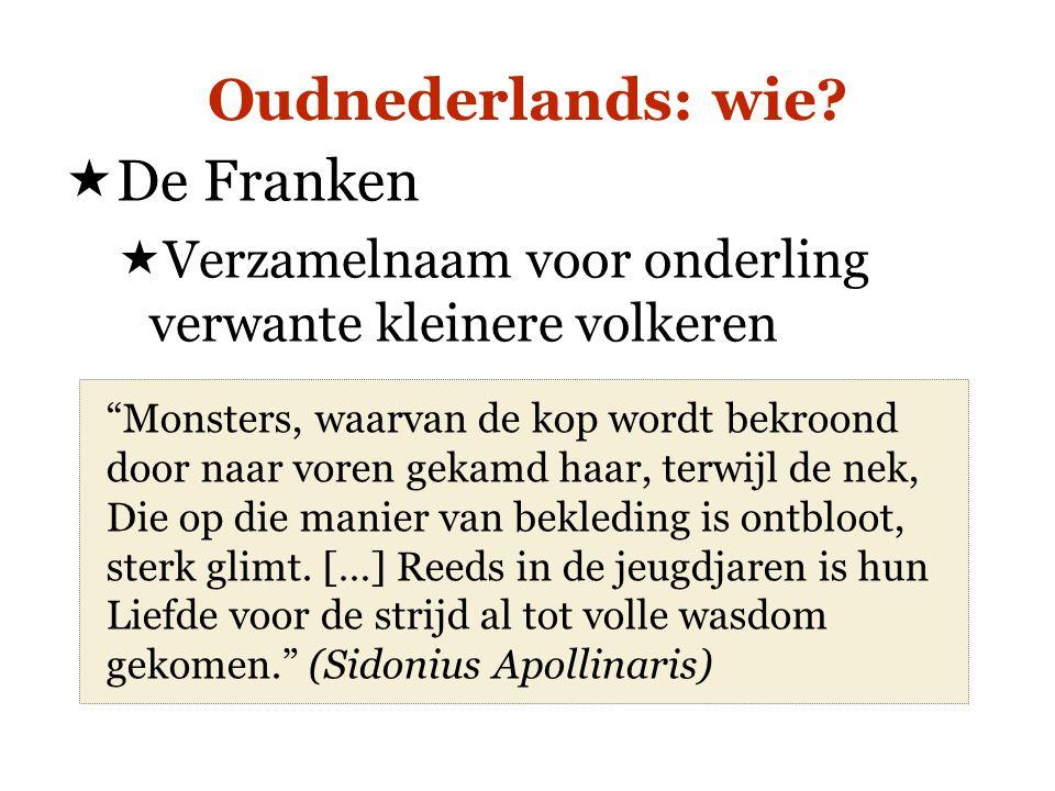"""Oudnederlands: wie?  De Franken  Verzamelnaam voor onderling verwante kleinere volkeren """"Monsters, waarvan de kop wordt bekroond door naar voren gek"""