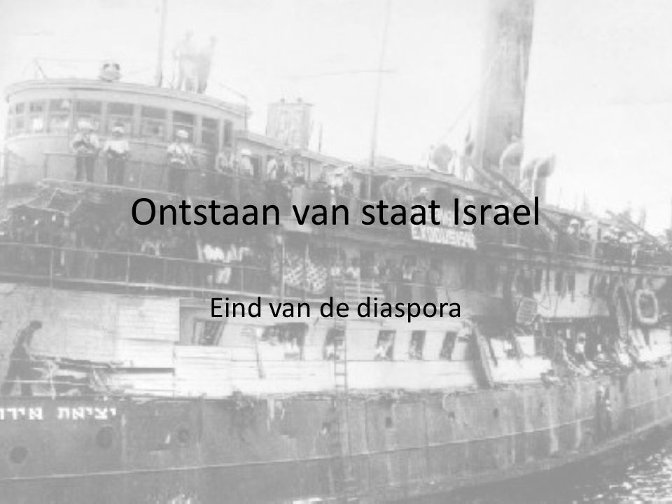 Ontstaan van de staat Israel Onder invloed van het Zionisme hadden tot de tweede wereld oorlog al 350.000 joden zich in Palestina gevestigd.