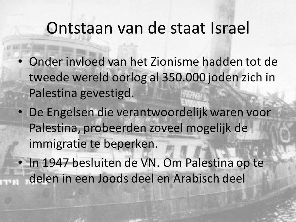 Ontstaan van de staat Israel Ten gevolge van de holocaust, wordt de roep om eigen staat steeds luider Joden proberen massaal naar Palestina te gaan.