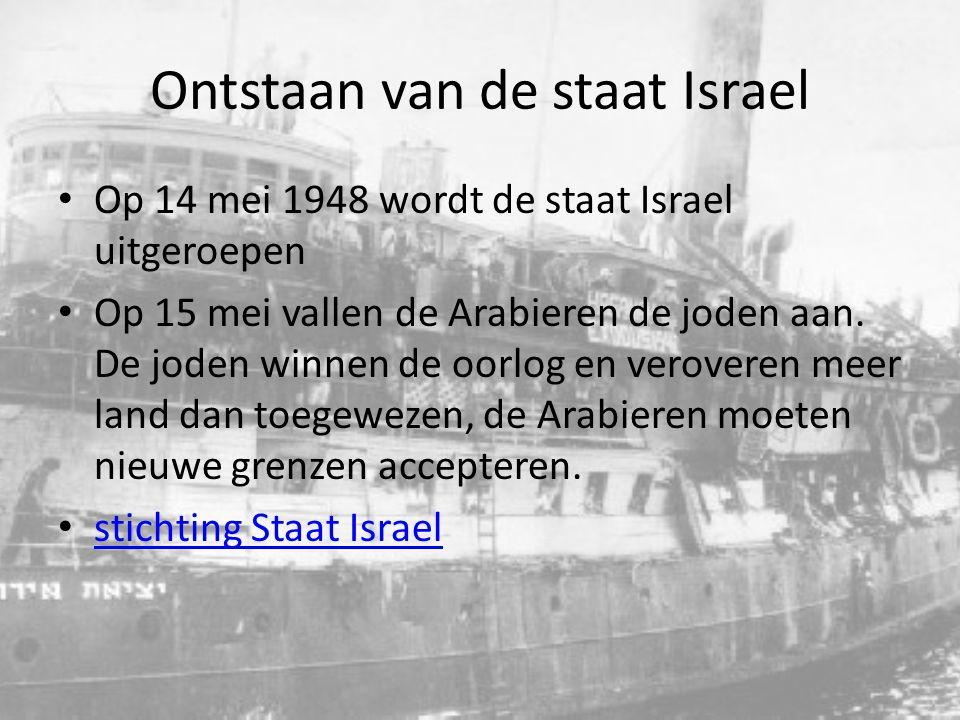 Ontstaan van de staat Israel Vanaf dat moment is Israel in continue oorlog met zijn buren 1956: De suezoorlog Egypte valt Israel aan 1967: 6 daagse oorlog6 daagse oorlog 1973: yom kippur oorlog 1982: libanon oorlog 1987-1993: 1 e intifada 2000-2005: 2 e initifada 2008-2009: gazaconflict