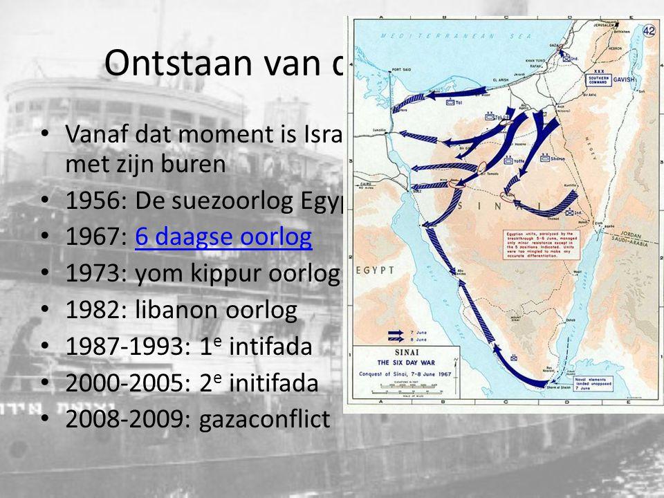 Ontstaan van de staat Israel Vanaf dat moment is Israel in continue oorlog met zijn buren 1956: De suezoorlog Egypte valt Israel aan 1967: 6 daagse oo
