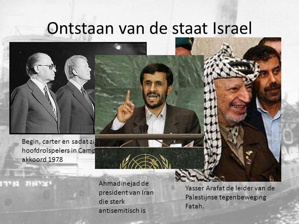 Begin, carter en sadat zijn de hoofdrolspelers in Camp David akkoord 1978 Yasser Arafat de leider van de Palestijnse tegenbeweging Fatah. Ahmadinejad