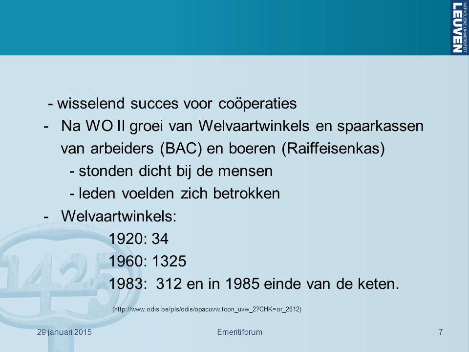 - wisselend succes voor coöperaties -Na WO II groei van Welvaartwinkels en spaarkassen van arbeiders (BAC) en boeren (Raiffeisenkas) - stonden dicht b