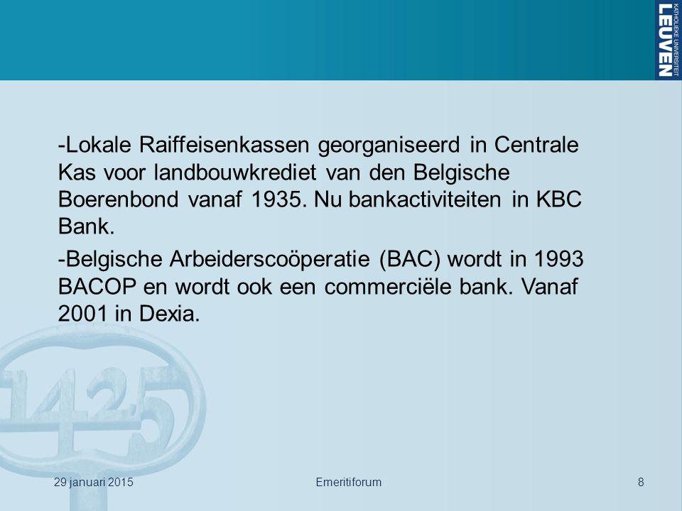 -Lokale Raiffeisenkassen georganiseerd in Centrale Kas voor landbouwkrediet van den Belgische Boerenbond vanaf 1935. Nu bankactiviteiten in KBC Bank.