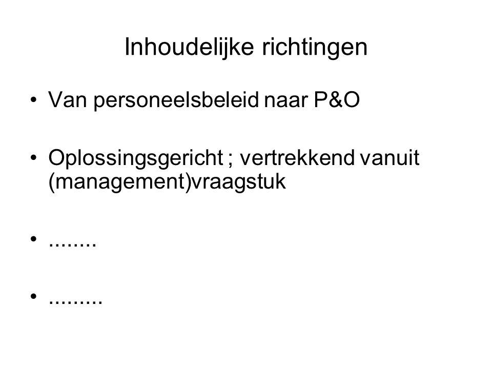 Inhoudelijke richtingen Van personeelsbeleid naar P&O Oplossingsgericht ; vertrekkend vanuit (management)vraagstuk.................