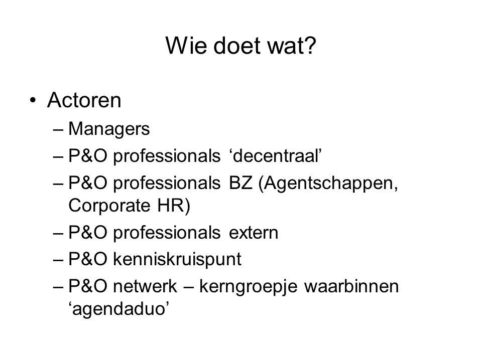 Wie doet wat? Actoren –Managers –P&O professionals 'decentraal' –P&O professionals BZ (Agentschappen, Corporate HR) –P&O professionals extern –P&O ken