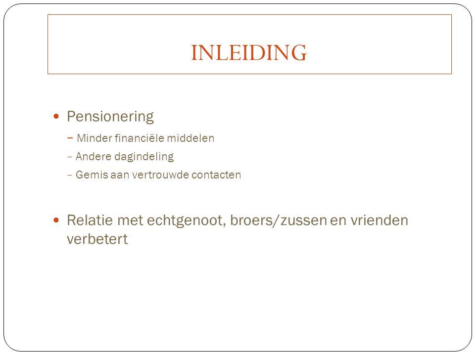 INLEIDING Pensionering − Minder financiële middelen − Andere dagindeling − Gemis aan vertrouwde contacten Relatie met echtgenoot, broers/zussen en vri
