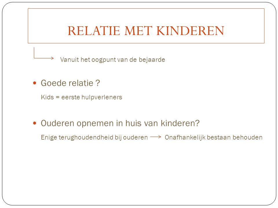 RELATIE MET KINDEREN Vanuit het oogpunt van de bejaarde Goede relatie ? Kids = eerste hulpverleners Ouderen opnemen in huis van kinderen? Enige terugh