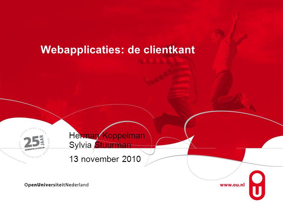 Materiaal Tekstboek: - probleemgericht Werkboek: - opdrachten - aanvullingen (standaarden, video en flash, web 2.0, HTML5) http://www.webstepbook.com/