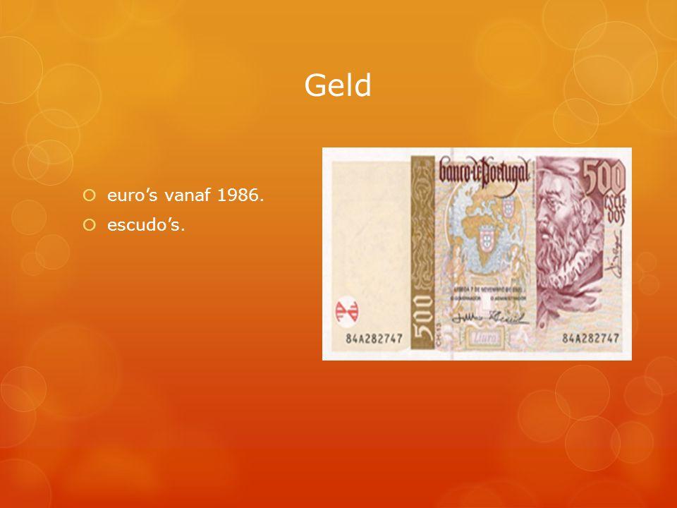 Geld  euro's vanaf 1986.  escudo's.