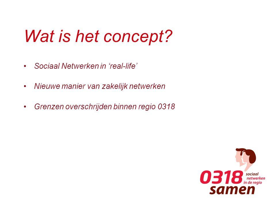Wat is het concept? Sociaal Netwerken in 'real-life' Nieuwe manier van zakelijk netwerken Grenzen overschrijden binnen regio 0318