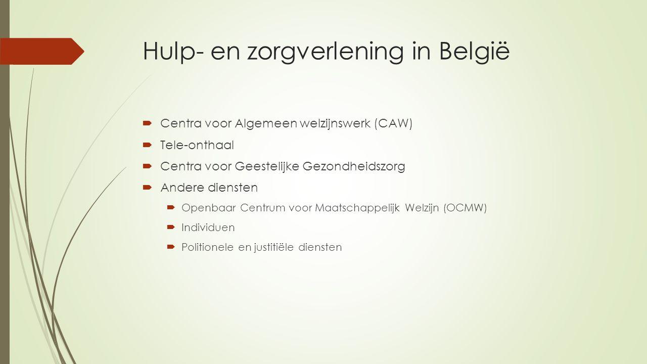 Hulp- en zorgverlening in België  Centra voor Algemeen welzijnswerk (CAW)  Tele-onthaal  Centra voor Geestelijke Gezondheidszorg  Andere diensten  Openbaar Centrum voor Maatschappelijk Welzijn (OCMW)  Individuen  Politionele en justitiële diensten