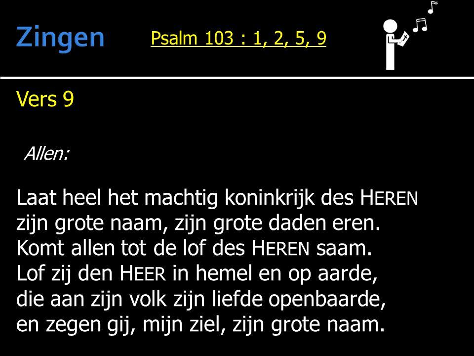 Vers 9 Allen: Laat heel het machtig koninkrijk des H EREN zijn grote naam, zijn grote daden eren. Komt allen tot de lof des H EREN saam. Lof zij den H