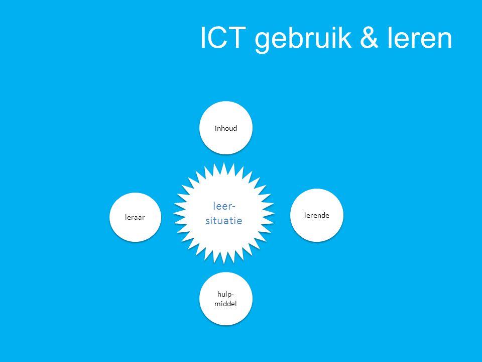 ICT gebruik & leren leraar lerende hulp- middel inhoud leer- situatie