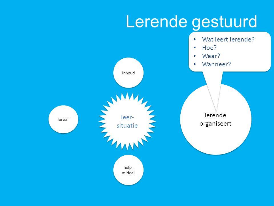 Lerende gestuurd lerende organiseert lerende organiseert hulp- middel inhoud leer- situatie Wat leert lerende? Hoe? Waar? Wanneer? Wat leert lerende?