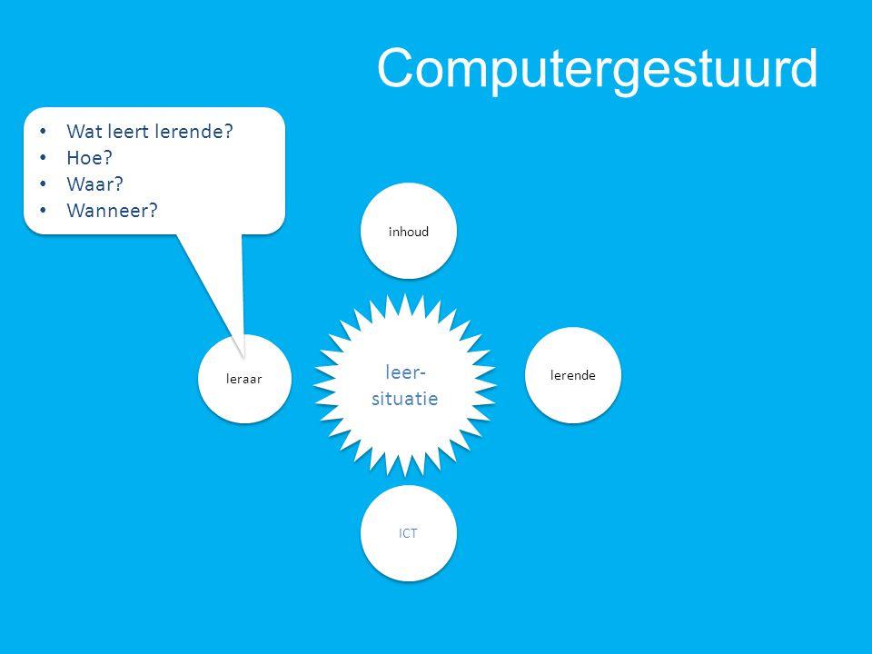 Computergestuurd leraar ICT inhoud leer- situatie lerende Wat leert lerende.