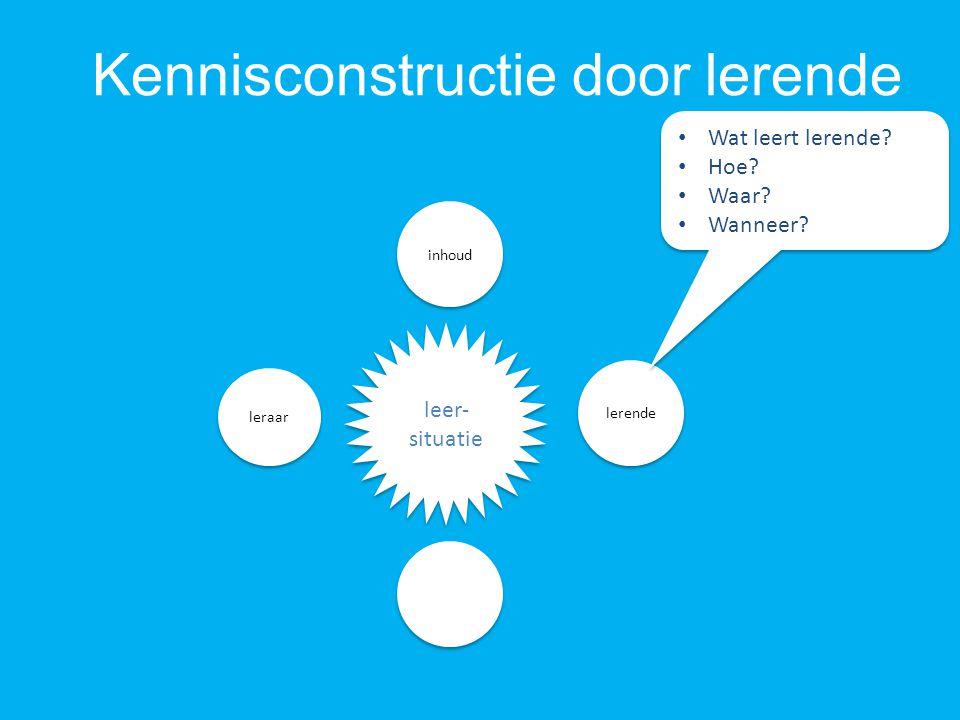 Kennisconstructie door lerende ICT inhoud leer- situatie leraar lerende Wat leert lerende.