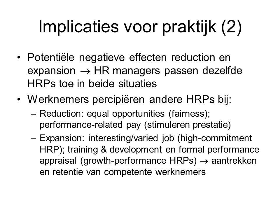 Implicaties voor praktijk (2) Potentiële negatieve effecten reduction en expansion  HR managers passen dezelfde HRPs toe in beide situaties Werknemer