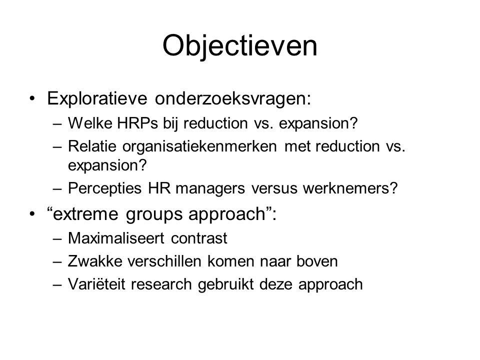 Objectieven Exploratieve onderzoeksvragen: –Welke HRPs bij reduction vs. expansion? –Relatie organisatiekenmerken met reduction vs. expansion? –Percep