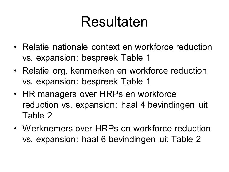 Resultaten Relatie nationale context en workforce reduction vs.