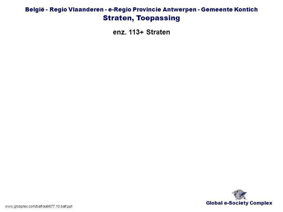 Global e-Society Complex België - Regio Vlaanderen - e-Regio Provincie Antwerpen - Gemeente Kontich Straten, Toepassing enz. 113+ Straten www.globplex