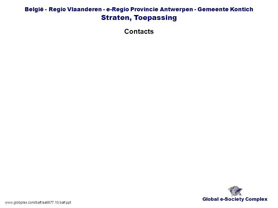 Global e-Society Complex België - Regio Vlaanderen - e-Regio Provincie Antwerpen - Gemeente Kontich Straten, Toepassing Contacts www.globplex.com/balf/aa9677.10.balf.ppt