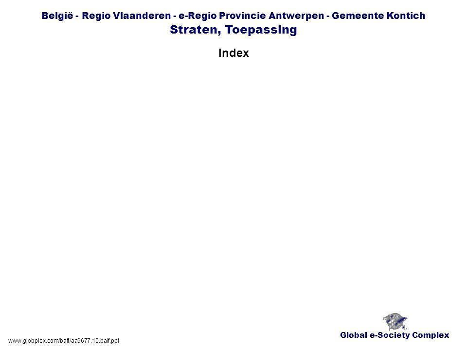 Global e-Society Complex België - Regio Vlaanderen - e-Regio Provincie Antwerpen - Gemeente Kontich Straten, Toepassing Index www.globplex.com/balf/aa