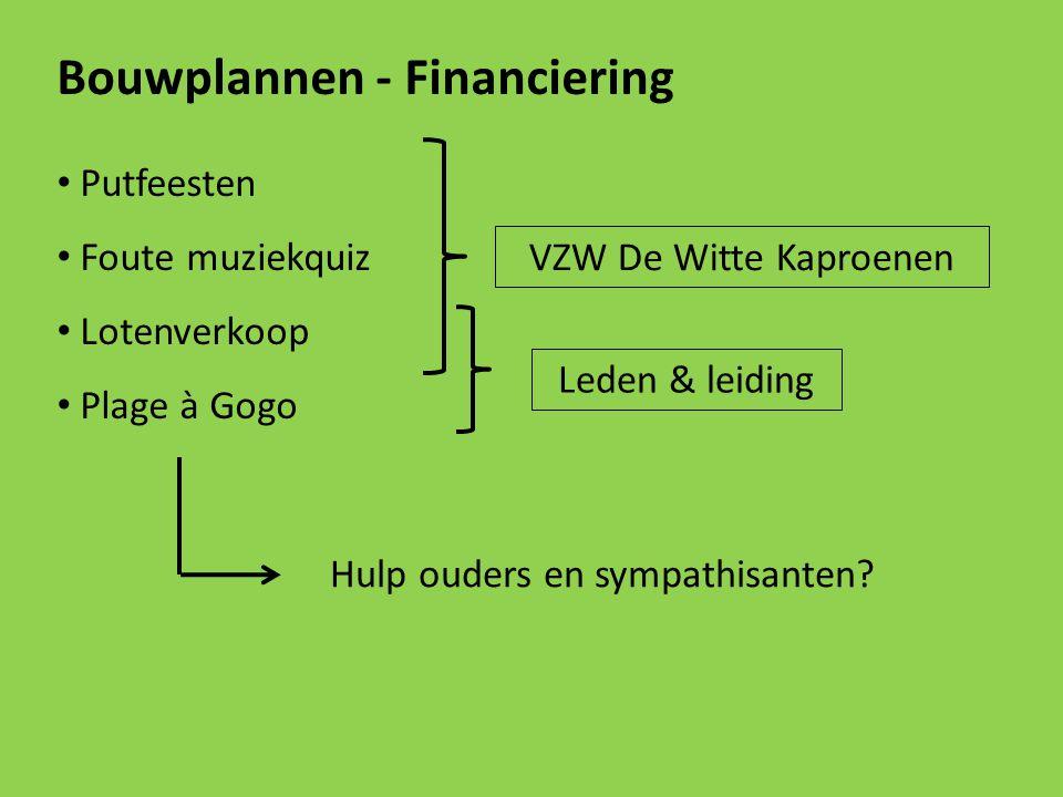 Bouwplannen - Financiering Putfeesten Foute muziekquiz Lotenverkoop Plage à Gogo VZW De Witte Kaproenen Leden & leiding Hulp ouders en sympathisanten?