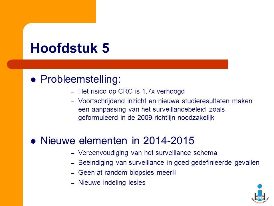 Hoofdstuk 5 Probleemstelling: – Het risico op CRC is 1.7x verhoogd – Voortschrijdend inzicht en nieuwe studieresultaten maken een aanpassing van het s
