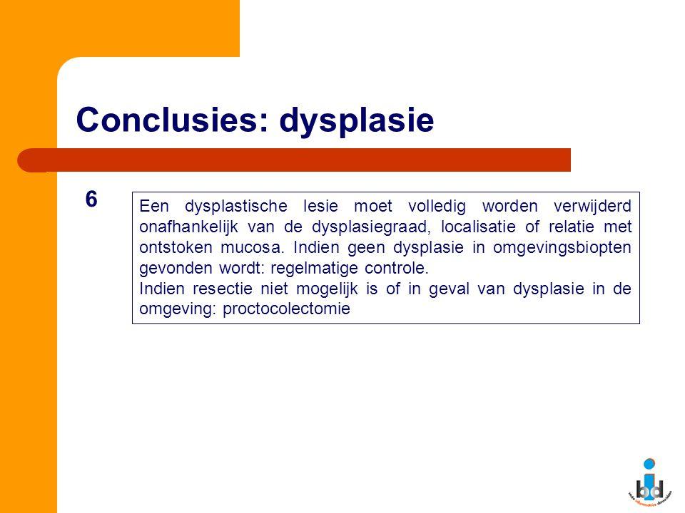 Conclusies: dysplasie Een dysplastische lesie moet volledig worden verwijderd onafhankelijk van de dysplasiegraad, localisatie of relatie met ontstoken mucosa.