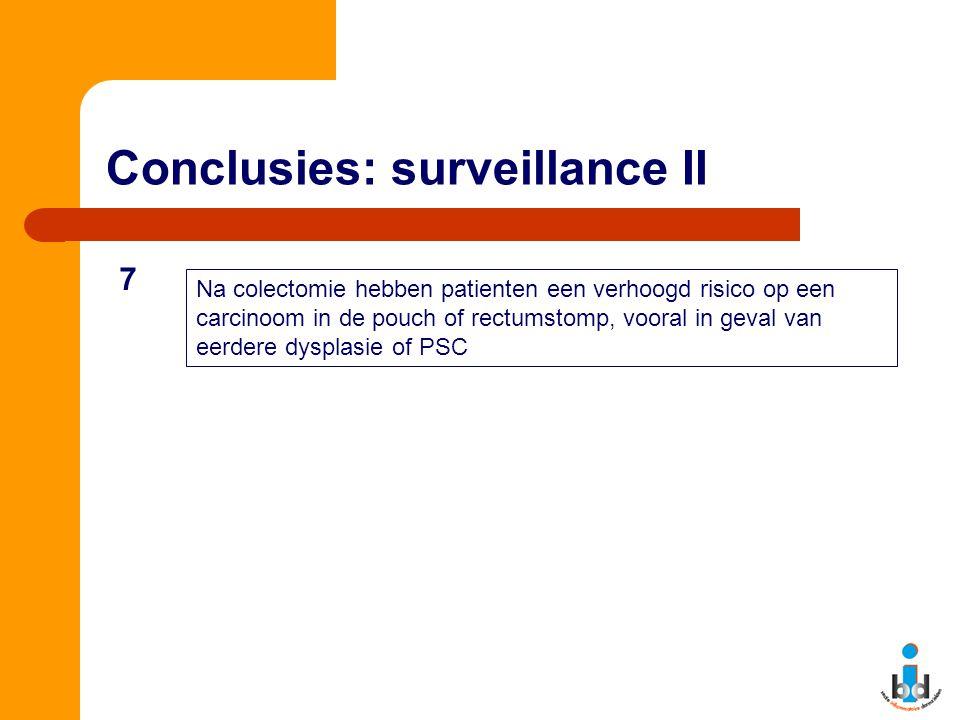 Conclusies: surveillance II Na colectomie hebben patienten een verhoogd risico op een carcinoom in de pouch of rectumstomp, vooral in geval van eerdere dysplasie of PSC 7