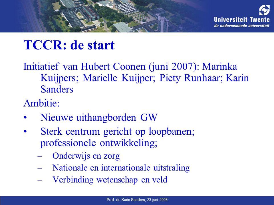 Prof. dr. Karin Sanders, 23 juni 2008 TCCR: de start Initiatief van Hubert Coonen (juni 2007): Marinka Kuijpers; Marielle Kuijper; Piety Runhaar; Kari