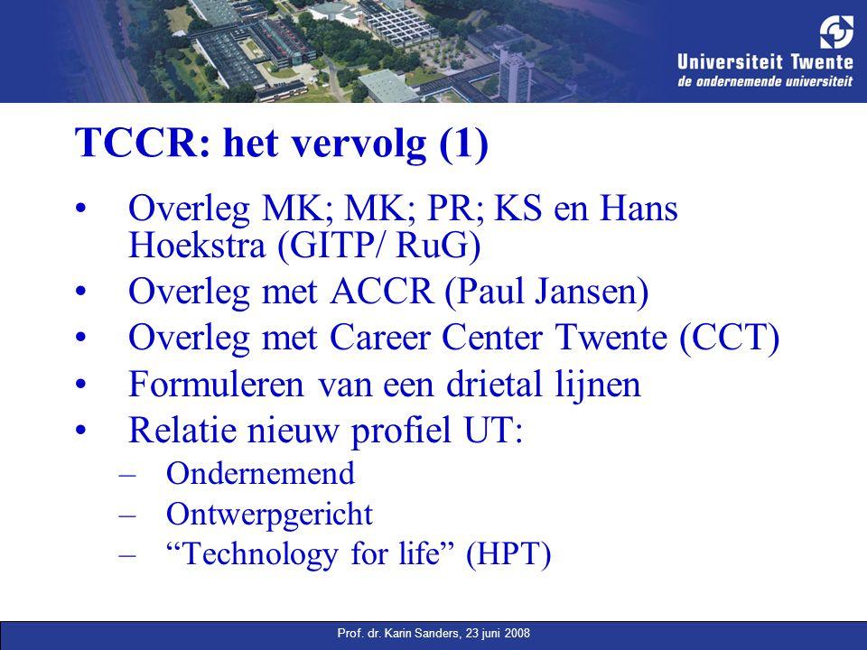 Prof. dr. Karin Sanders, 23 juni 2008 TCCR: het vervolg (1) Overleg MK; MK; PR; KS en Hans Hoekstra (GITP/ RuG) Overleg met ACCR (Paul Jansen) Overleg