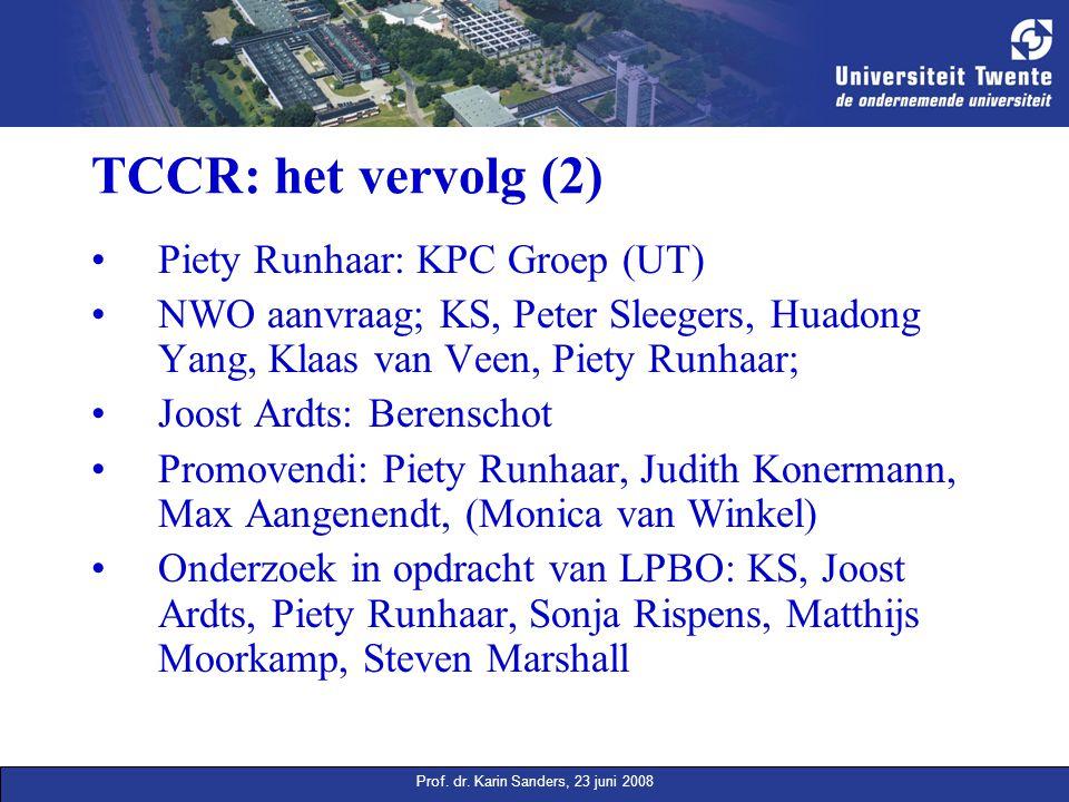 Prof. dr. Karin Sanders, 23 juni 2008 TCCR: het vervolg (2) Piety Runhaar: KPC Groep (UT) NWO aanvraag; KS, Peter Sleegers, Huadong Yang, Klaas van Ve