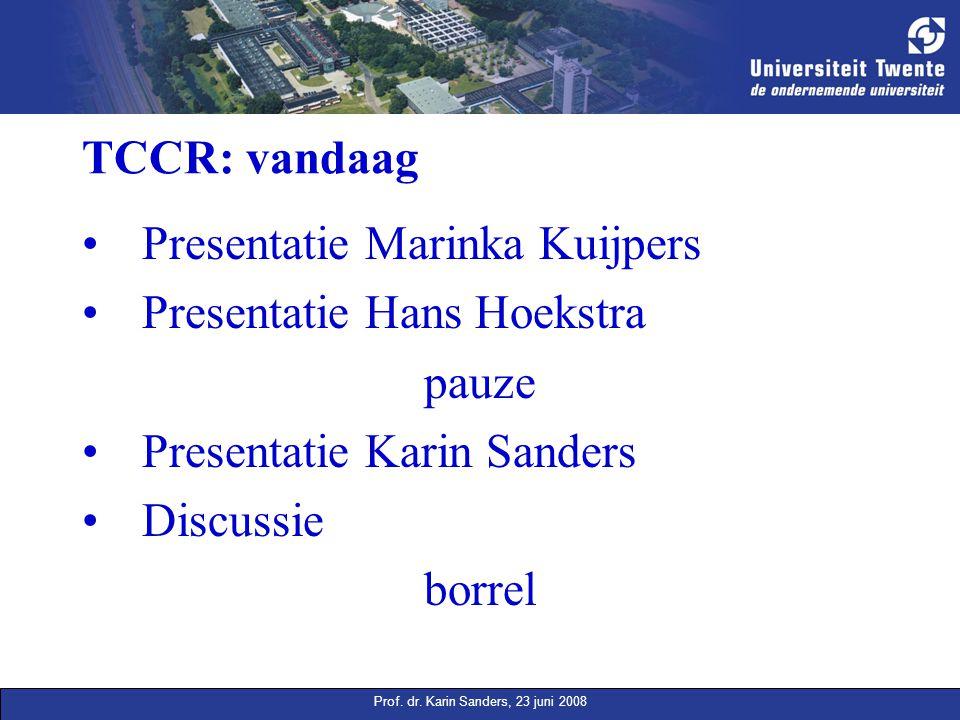 Prof. dr. Karin Sanders, 23 juni 2008 TCCR: vandaag Presentatie Marinka Kuijpers Presentatie Hans Hoekstra pauze Presentatie Karin Sanders Discussie b