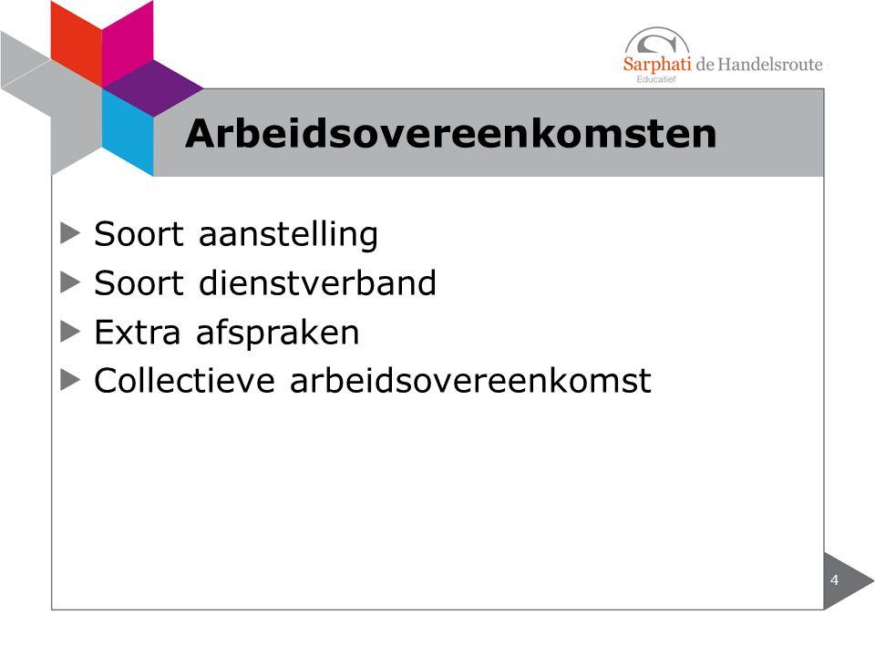 Soort aanstelling Soort dienstverband Extra afspraken Collectieve arbeidsovereenkomst 4 Arbeidsovereenkomsten